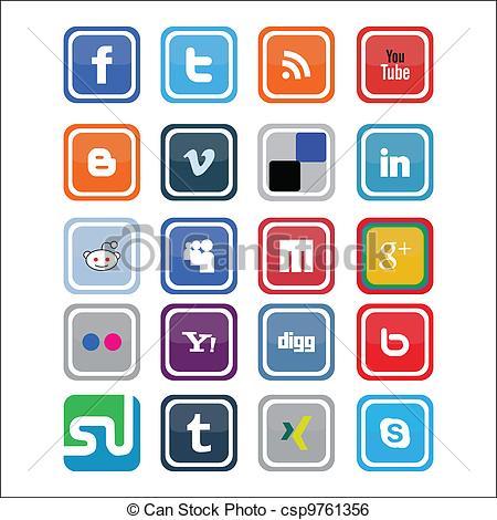 Social media clipart set png royalty free stock Social Media Logo Clipart - Clipart Kid png royalty free stock