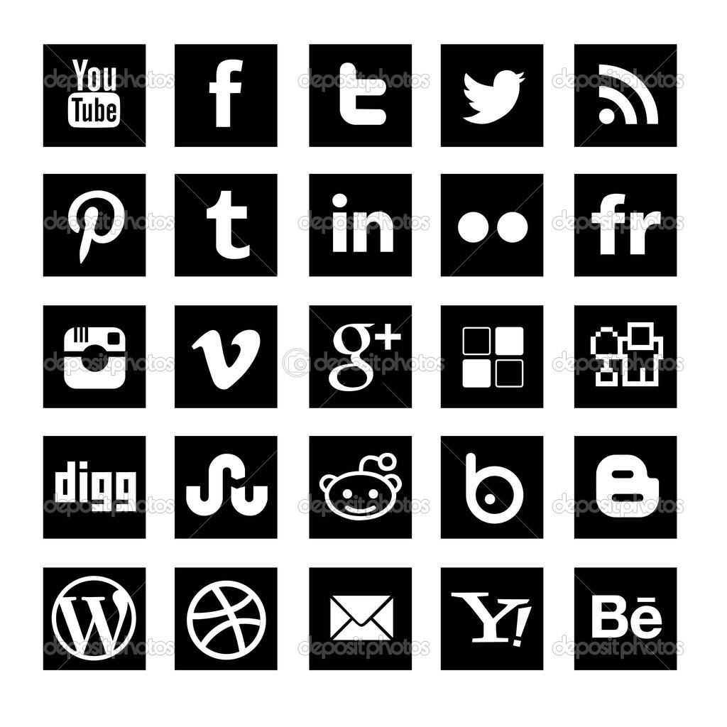 Social media clipart set clip black and white Social media clipart black and white - ClipartFest clip black and white