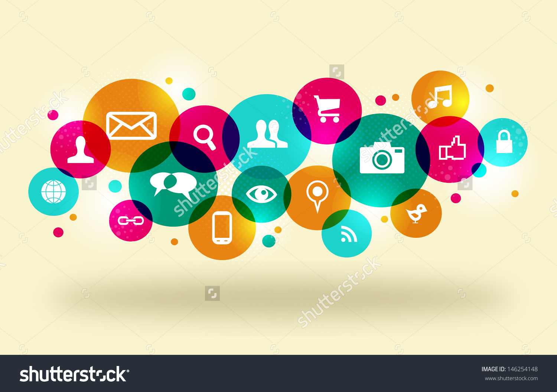 Social media clipart set graphic royalty free stock Social Media Icons Set Colorful Circle Stock Illustration ... graphic royalty free stock