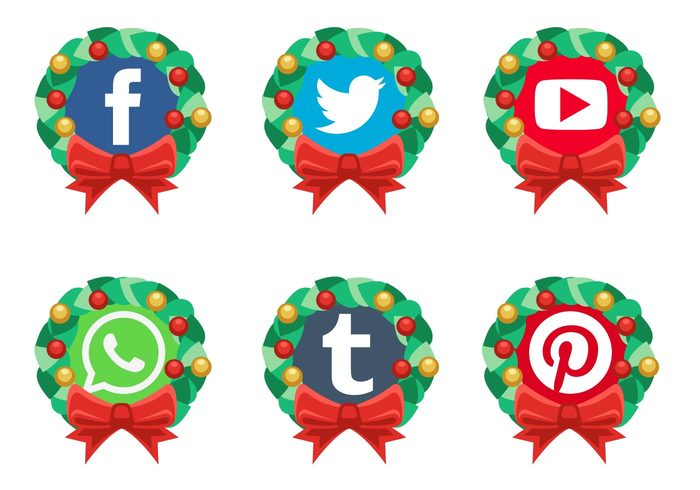 Social media clipart vector svg free stock Vector Christmas Social Media Icons | Free Vector Art at Vecteezy! svg free stock