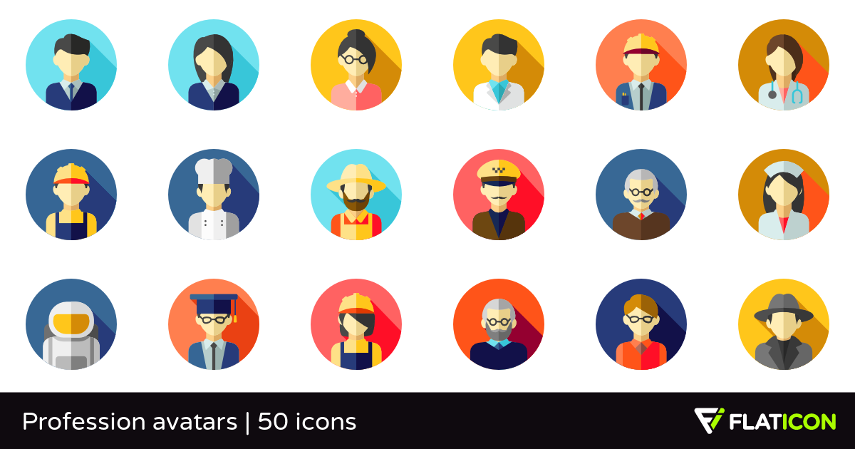 Profession avatars 50 free icons (SVG, EPS, PSD, PNG files) jpg black and white library