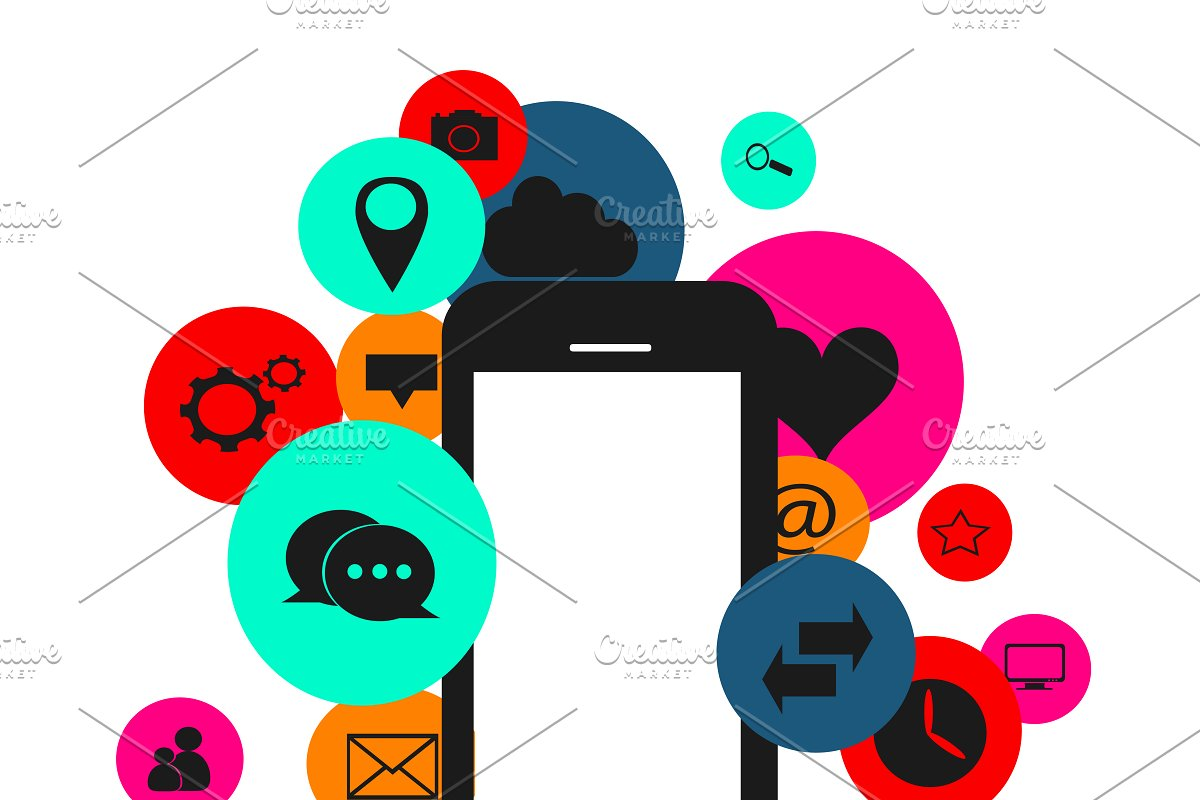 Flat social media icons smartphone vector freeuse