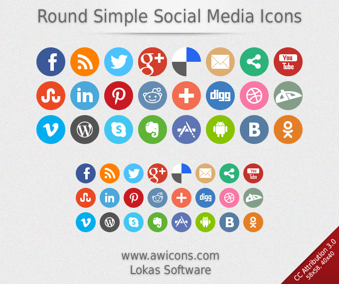 Social media icon clipart graphic freeuse stock Round Simple Social Media Icons | Free Images at Clker.com ... graphic freeuse stock