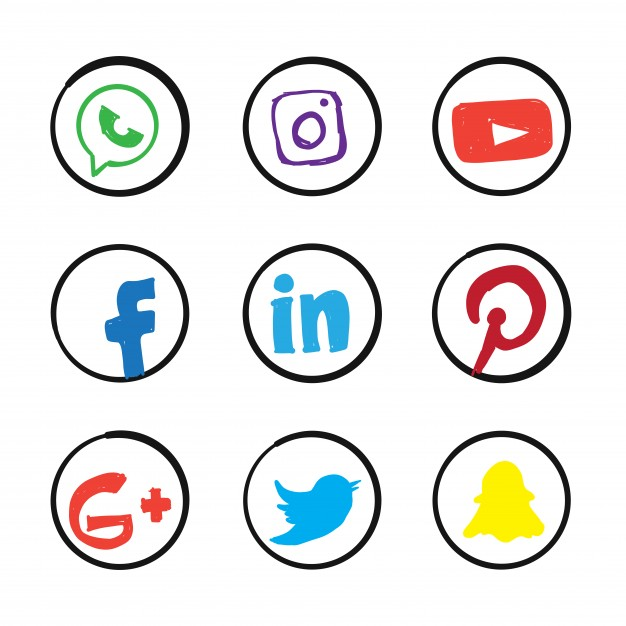 Social media icons vector clipart png transparent library Doodle social media icons Vector | Free Download png transparent library