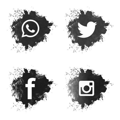 Social media icons vector clipart vector transparent library Social media black grunge icons set - Download Free Vectors ... vector transparent library