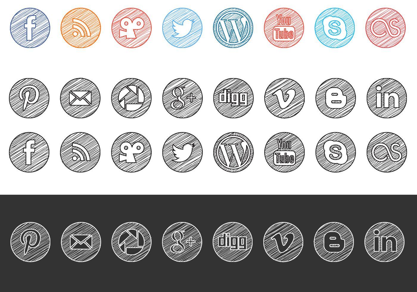 Social media icons vector clipart clip art transparent stock Sketchy Drawn Social Media Icons Vector Pack | Sick ... clip art transparent stock