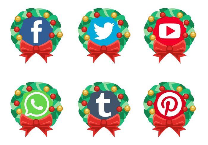 Social media logo clipart svg transparent Vector Christmas Social Media Icons | Free Vector Art at Vecteezy! svg transparent