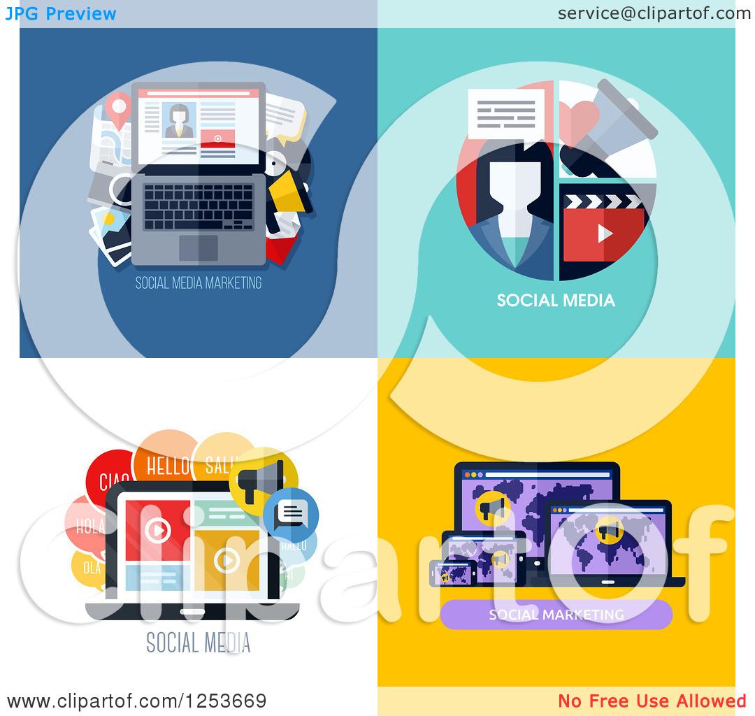 Social media marketing clipart jpg library download Clipart of Laptop Social Media Marketing Icons - Royalty Free ... jpg library download