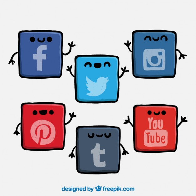 Social networking sites icons clipart png free stock Cute social network icons Vector | Free Download png free stock