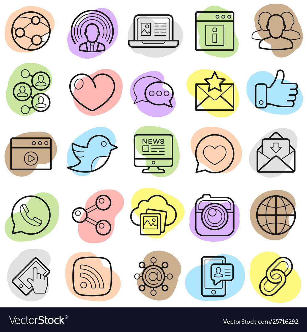 Social networking sites logos clipart jpg library Social network trendy icons set jpg library