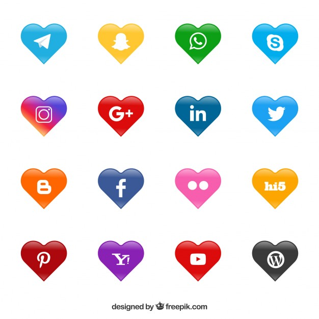 Social networking sites logos clipart black and white stock Social network logos heart shaped Vector | Free Download black and white stock