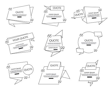 Social networking template clipart black and white svg transparent download Set Origami Quote Template for Social Networking, Newspaper ... svg transparent download