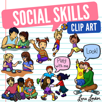 Social skills clipart black and white stock Social Skills Clip Art - Bonus Speech Bubbles - Joint Attention, Eye  contact etc black and white stock