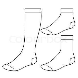 Sock template clipart image black and white download 14 Socks Outline Template Images - Socks Clip Art Free, Fox ... image black and white download