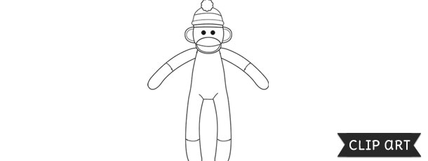 Sock template clipart black and white download Sock Monkey Template – Clipart black and white download
