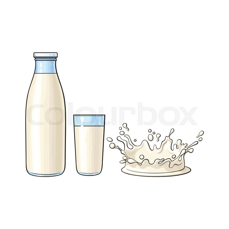 Soft drinks and milk clipart image stock Vector cartoon glass bottle, cup of ...   Stock vector ... image stock