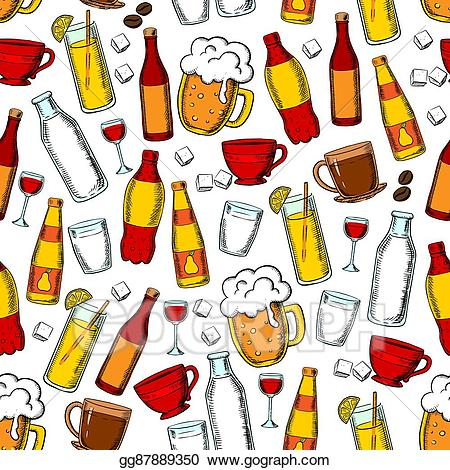 Soft drinks and milk clipart clip transparent Vector Clipart - Seamless drinks and beverages pattern ... clip transparent