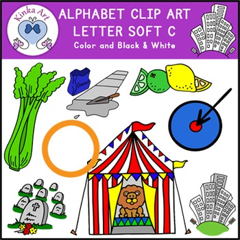 Letter C {soft sound} Clip Art: Beginning Sounds Alphabet picture freeuse