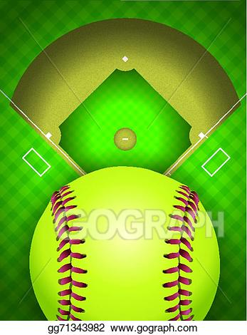Softball background clipart clip free EPS Vector - Softball field and ball background illustration ... clip free