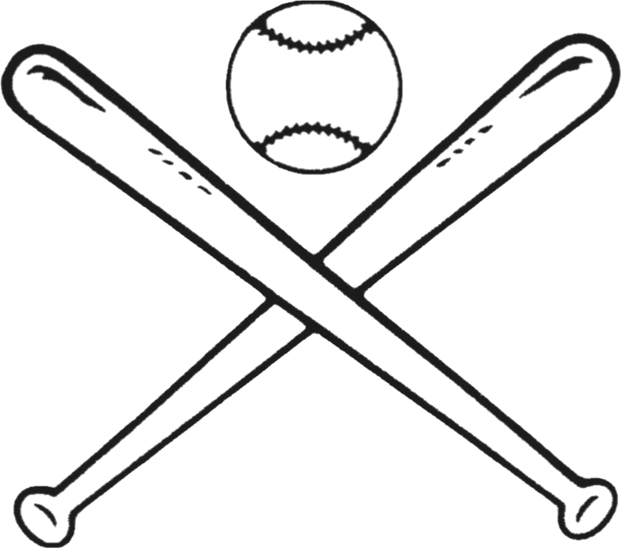 Softball bat and ball clipart jpg freeuse Baseball Bats Drawing Bat And Ball Games Clip Art - Black ... jpg freeuse