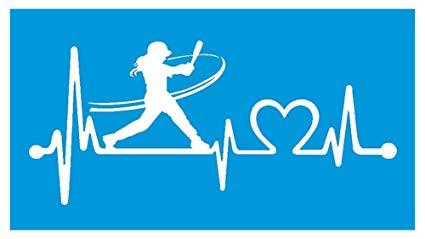 Bluegrass Decals K1072 Softball Girl Batter Batting Heartbeat Lifeline  Decal Sticker freeuse stock