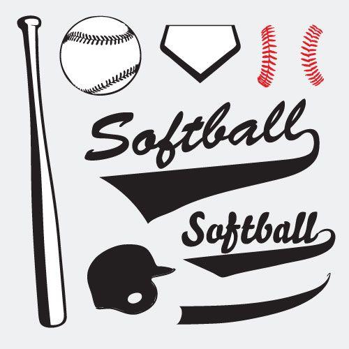 Womens senior softball clipart clip free library Softball Vector Set 02 clip art eps | softball | Softball ... clip free library