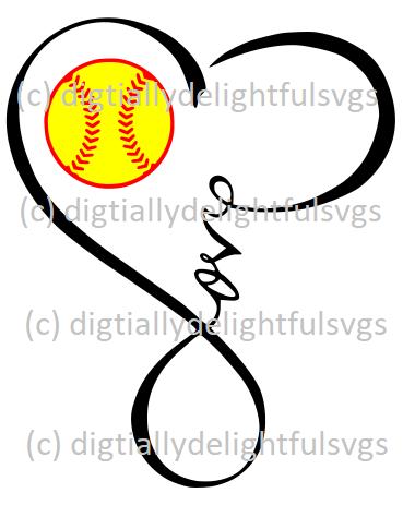 Love Softball Heart Infinity Symbol | sports | Softball ... jpg freeuse