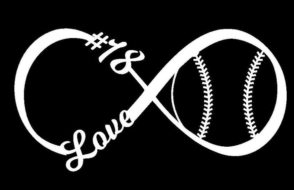 Love Baseball Softball Infinity Decal With Number - Window ... graphic free download