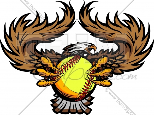 Eagle Softball Mascot Vector Image - Sports Clipart jpg transparent library