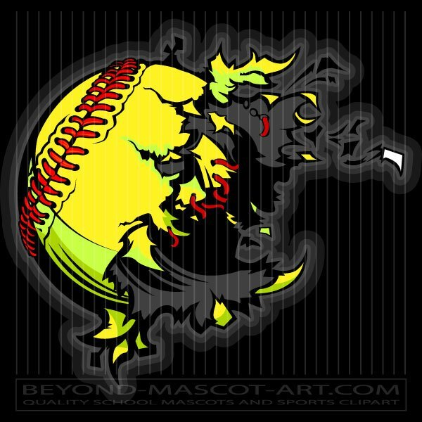 Fastpitch Softball Explosion Clipart image stock