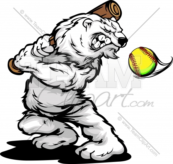 Polar Bear Softball Clipart and More Softball Mascots. png freeuse library