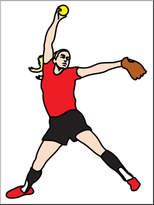 Softball pitcher clipart png free library Clip Art: Softball Pitcher Color I abcteach.com   abcteach png free library