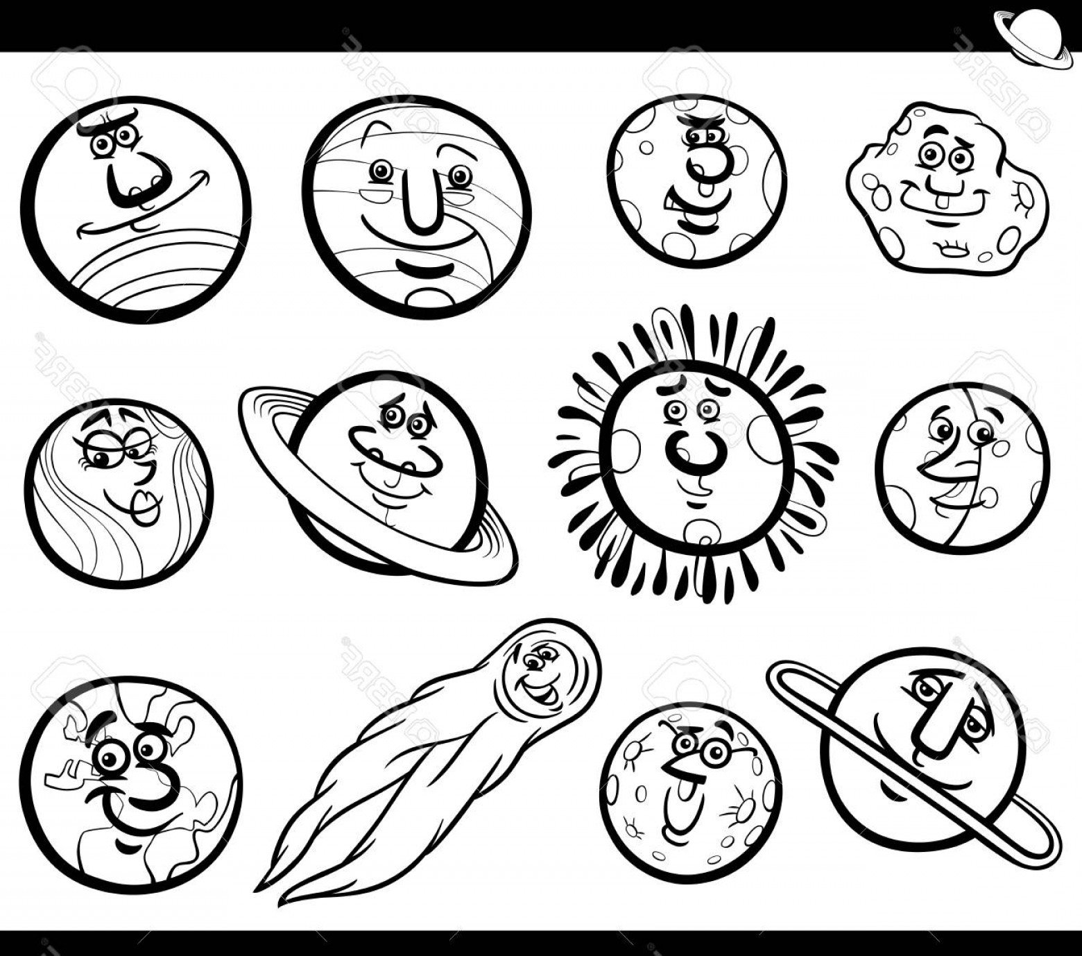Solar system cartoon black and white clipart clipart royalty free Photostock Vector Black And White Cartoon Illustration Of ... clipart royalty free