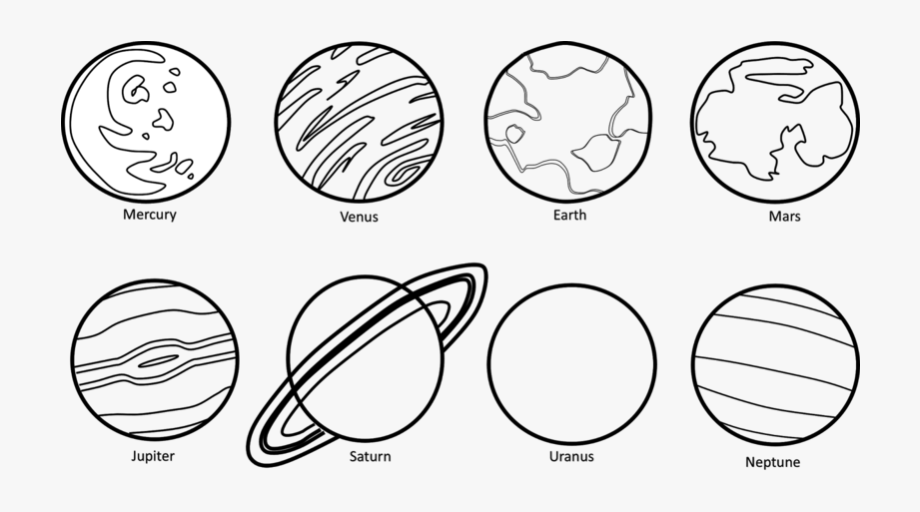 Solar system cartoon black and white clipart royalty free download Planets Clipart Black U0026 W - Solar System Black And White ... royalty free download
