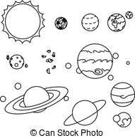 Solar system cartoon black and white clipart download Set planets solar system in a cartoon style flat. Set of the ... download