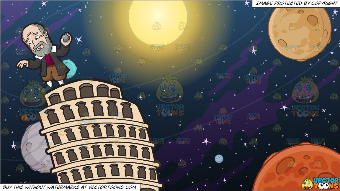Solar system clipart renaissance banner royalty free download Galileo Galilei Dropping Dropping A Wooden Ball And Iron Ball From The  Leaning Tower Of Pisa and Solar System Background banner royalty free download