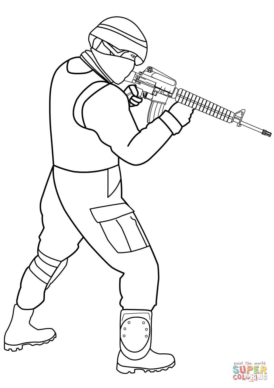Soldier coloring clipart graphic transparent download Special Forces Soldier coloring page | Free Printable ... graphic transparent download
