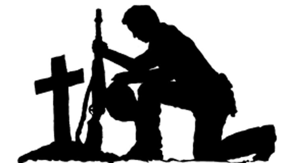 Soldiers and jesus cross black and white clipart jpg black and white download Soldier Kneeling Silhouette soldier cross silhouette for ... jpg black and white download