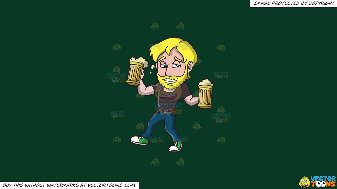 Clipart: A Drunk Man Carrying Mugs Of Beer on a Solid Dark Green 093824  Background clip art transparent stock