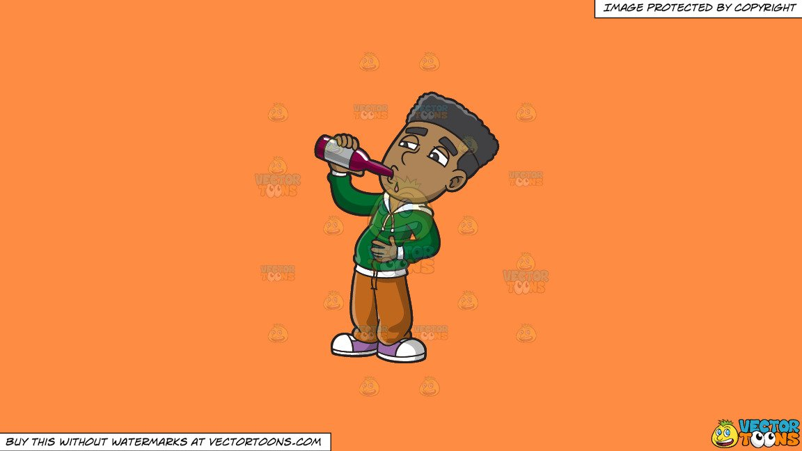 Clipart: A Black Guy Getting Drunk On Beer on a Solid Mango Orange Ff8C42  Background clip library download