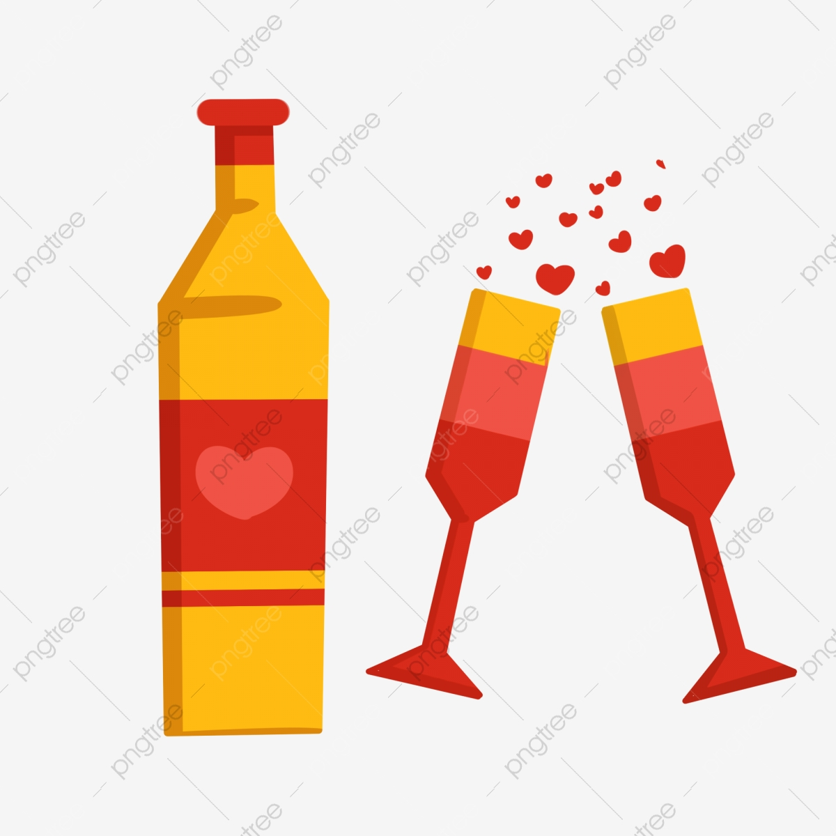 Two Glasses Of Champagne, Bottle, Beer, Liqueur PNG ... picture transparent library