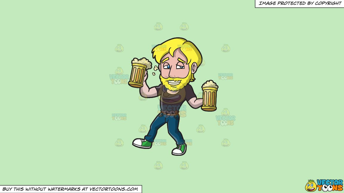 Clipart: A Drunk Man Carrying Mugs Of Beer on a Solid Tea Green C2Eabd  Background banner royalty free library