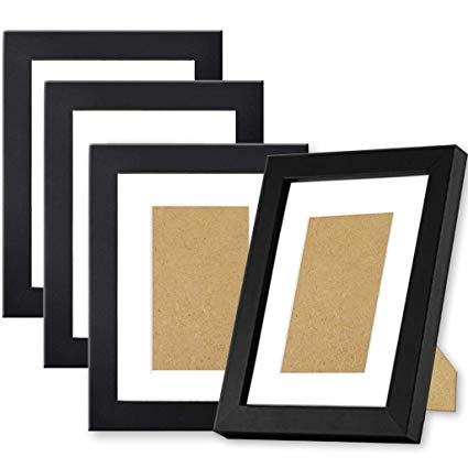 Black Picture Frames 5x7 (4 pack) made of NATURAL Solid Wood, Display  Pictures 5x7 4x6, Both Vertical and Horizontal Supported jpg freeuse