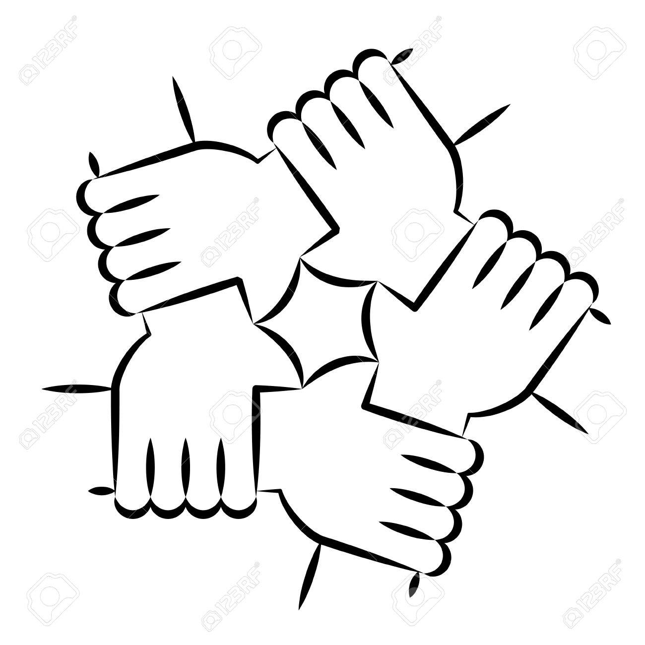 Solidariry clipart banner royalty free Vector Illustration Of Five Human Hands Holding Eachother ... banner royalty free