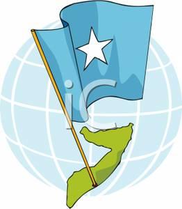 Somalia map clipart vector royalty free download The Somalian Flag on a Map of Somalia - Royalty Free Clipart ... vector royalty free download