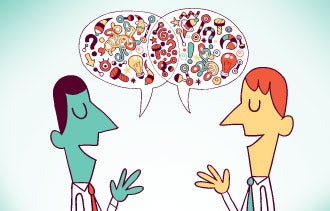 Someone listening to a private conversation clipart banner stock 5 Business Conversations to Have Today banner stock