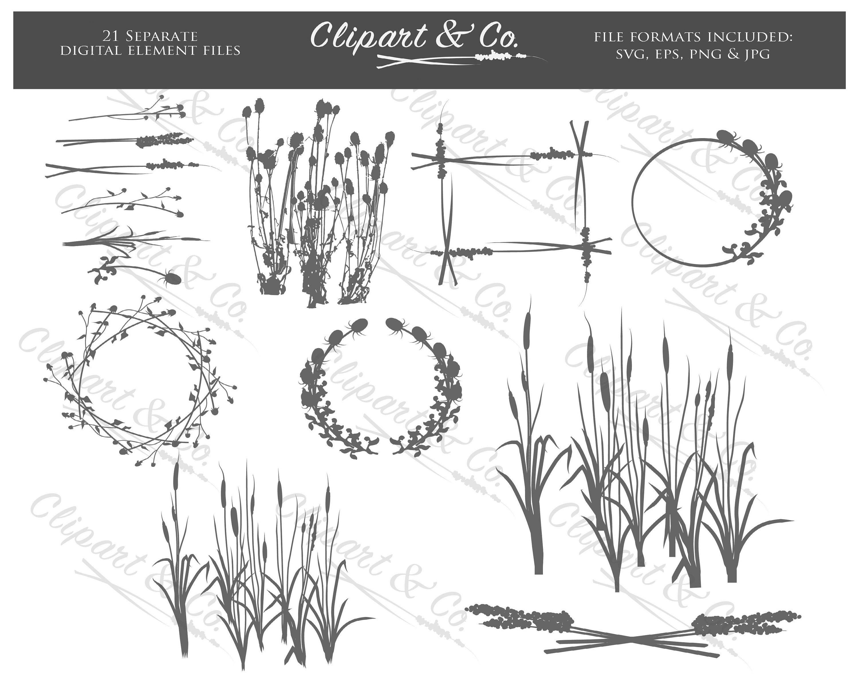 Someone looking over wall vector clipart black and white vector black and white stock Botanical Clipart Digital Stamps Design Elements, 21 Vector ... vector black and white stock