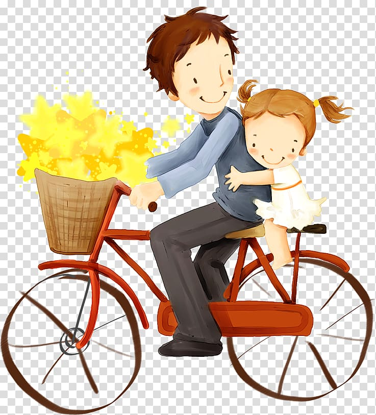 Someone on a bike with a baby clipart vector free library Father and daughter riding on red bicycle illustration ... vector free library
