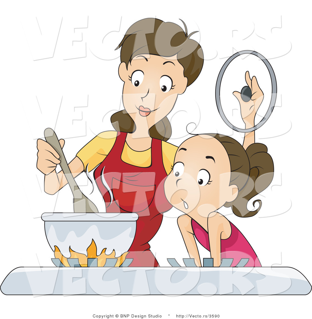Son daughter cooking baking bbqing cliparts clip art Vector of Daughter and Mom Cooking on a Gas Stove by BNP ... clip art