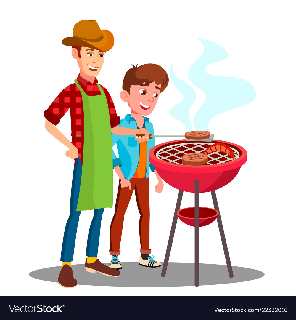 Son daughter cooking baking bbqing cliparts jpg free download Father and son cooking barbecue on the grill jpg free download
